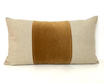 Tan and Brown Lumbar Pillow Cover