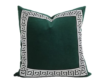 Forest Green Pillow Cover with Black and White Greek Key Trim