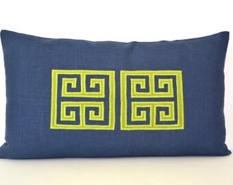 Navy Lumbar Pillow - Navy Linen Pillow with Lime Green Greek Key Appliqué