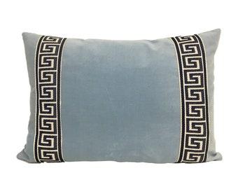 Light Blue Velvet Lumbar Pillow Cover with Blue Greek Key Trim