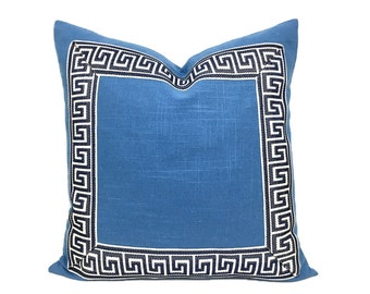 Ocean Blue Pillow Cover with Dark Navy Greek Key Trim
