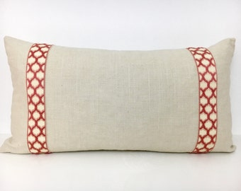 Off-White Lumbar Pillow Cover with Terra Cotta Trim