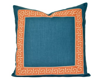 Teal Pillow Cover with Greek key trim - Teal and Orange PIllow Cover