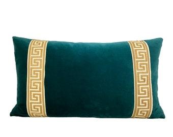 Teal Lumbar Pillow Cover with Greek Key Trim