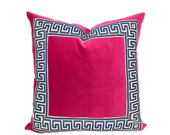 Fuchsia Pink Velvet Pillow Cover with Marine Blue Greek Key Trim