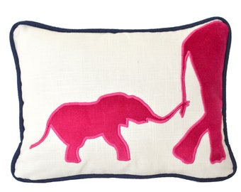 Elephant Pillow - Elephant pillow cover with hot pink velvet appliqué and navy piping