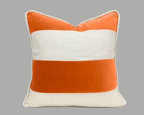 Orange Fabric Pillow Cover With White