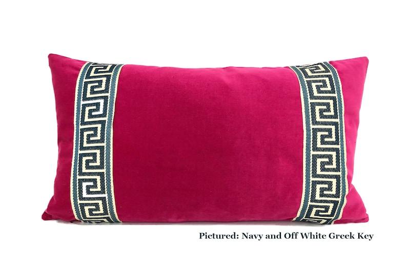 Fuchsia Pink Pillow Cover Fuchsia Velvet Lumbar Pillow with Navy Blue Greek Key Trim