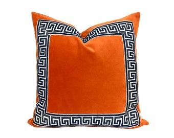 Orange Velvet Pillow Cover with Dark Navy Greek Key Trim