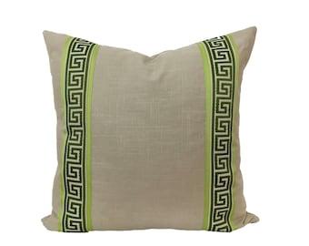 Tan Pillow Cover with Greek Key Trim