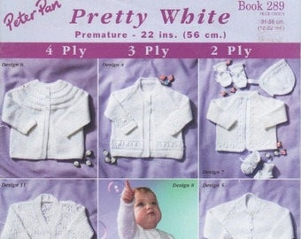 """2 ply 3 ply /& 4 ply knitting book 289 Pretty White Peter Pan 22/"""" premature"""