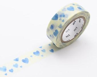 Blue Hearts Washi Tape • MT Masking Tape • MT ex Washi Tape • Washi Tape UK • Japanese Stationery • Heart Stamp Blue