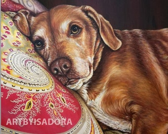 Realistic Pet Portrait with Detailed Background Hand Painted Custom Dog Painting on Canvas from Photo - custom portrait of your pet