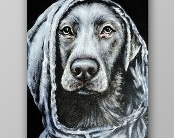Custom Dog or Cat Small Portrait - pocket portrait - hand painted small pet portrait from photo on canvas - dog or cat lovers Christmas gift