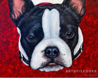Realistic Pet Portrait Hand Painted Custom Dog Painting on Canvas from Photo - Cat or Dog Gift - custom portrait of your pet