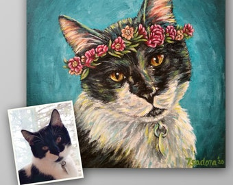 Pet Portrait with Flower Crown Hand Painted on Canvas - Whimsical Custom Pet Painting Dog Cat Horse Portrait Painting Picture from Photo