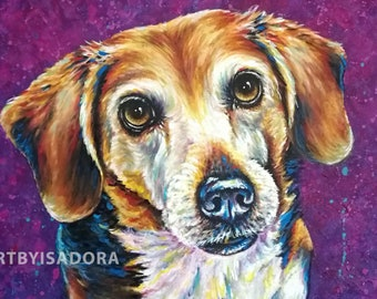 Colorful Pet Portrait Hand Painted Dog Painting on Canvas - Custom Pet Painting Dog Cat Horse Portrait Painting Picture from Photo