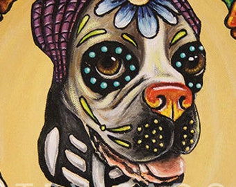 Pet Portrait or Memorial Custom Painting Hand Painted on Canvas - Day of the Dead Día de los Muertos art of your dog, cat, horse