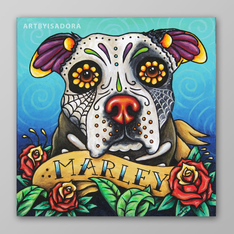Custom Pet Portrait Day of the Dead style Hand Painted on image 0