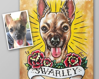 Tattoo Style Pet Portrait Painting on Canvas from Photo - Cat or Dog Tattoo Art - custom tattoo portrait of your pet - dog portrait