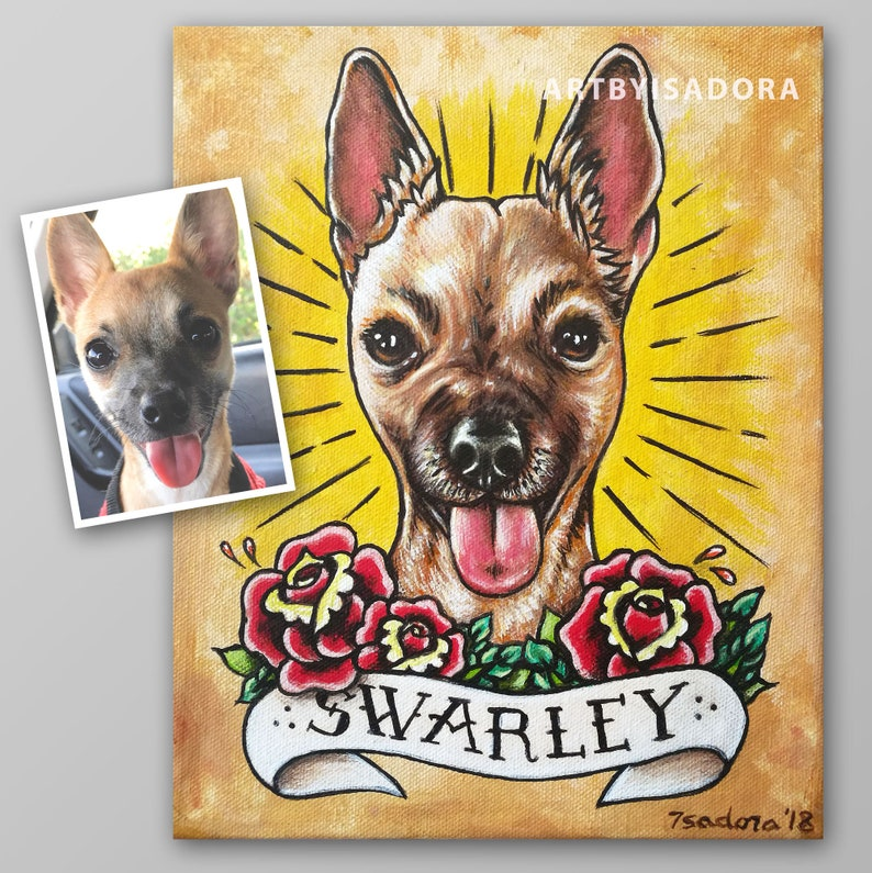 Tattoo Style Pet Portrait Painting on Canvas from Photo  Cat image 0