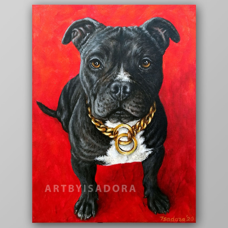 Realistic Pet Portrait Hand Painted Custom Dog Painting on image 0