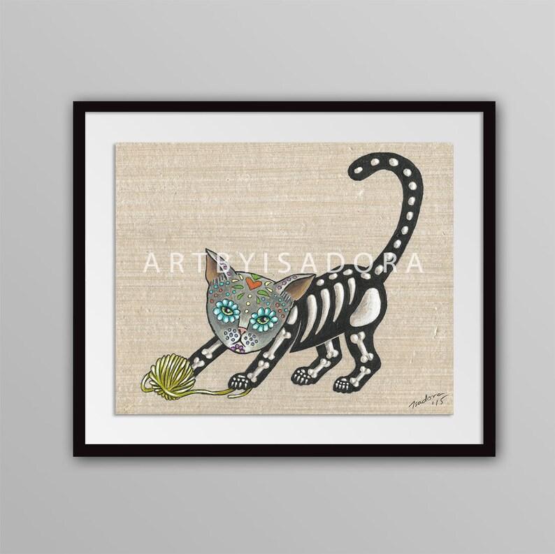 Day Of The Dead Cat Print Día De Los Muertos Style Art Día De Muertos Tattoo Tattoo Art Playful Cat Print Cat Folk Art Print