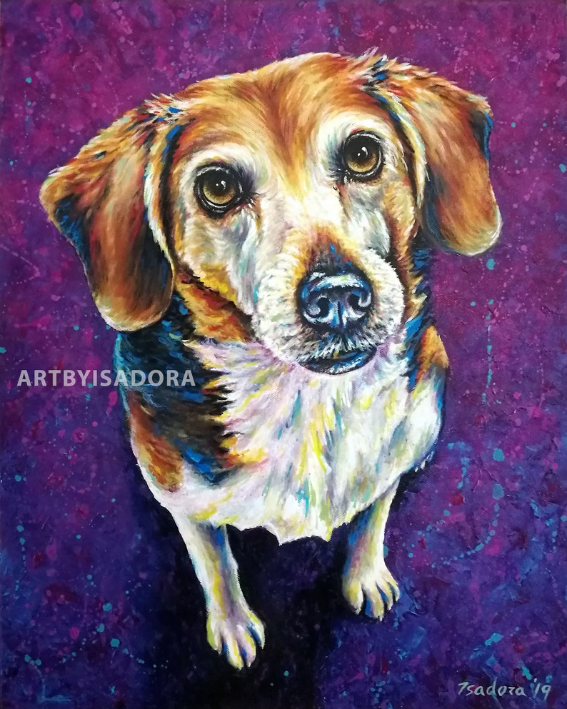 Colorful Pet Portrait Hand Painted Dog Painting on Canvas  image 0