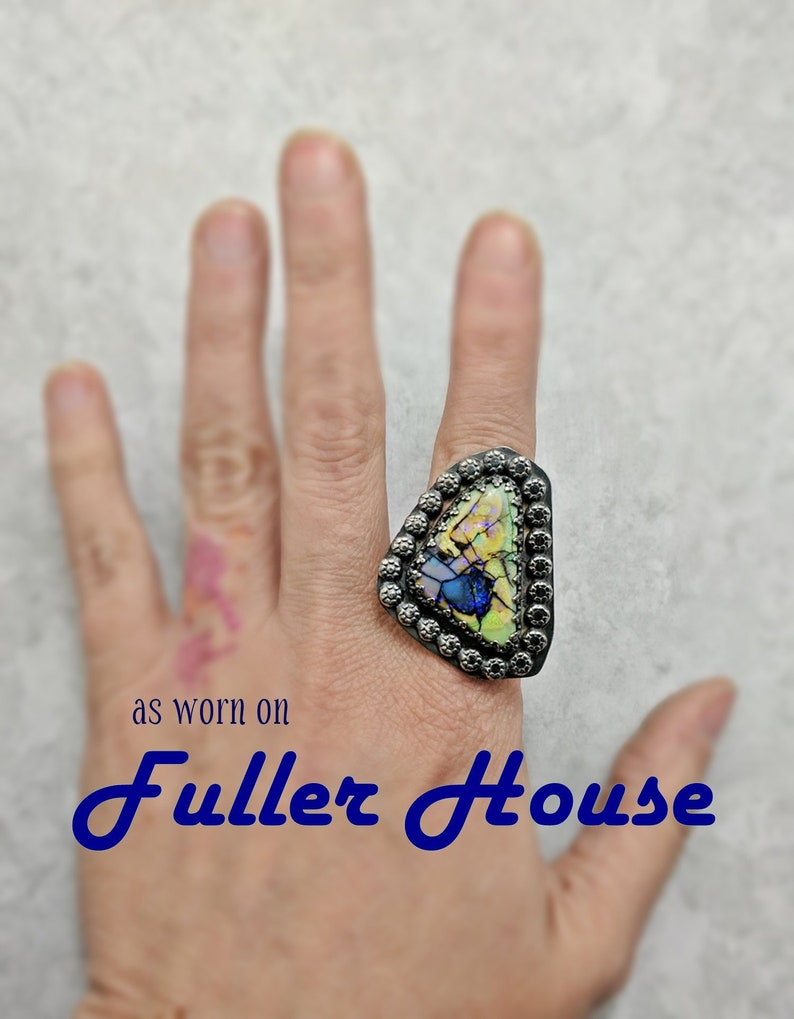 Sterling Opal and Silver Ring size 6-10 Fuller House TV image 0