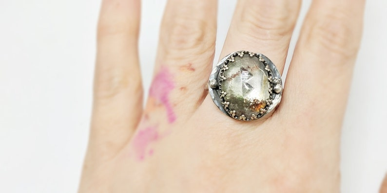 Beorc Rune Ring size 8. Sterling silver and lodolite garden image 0