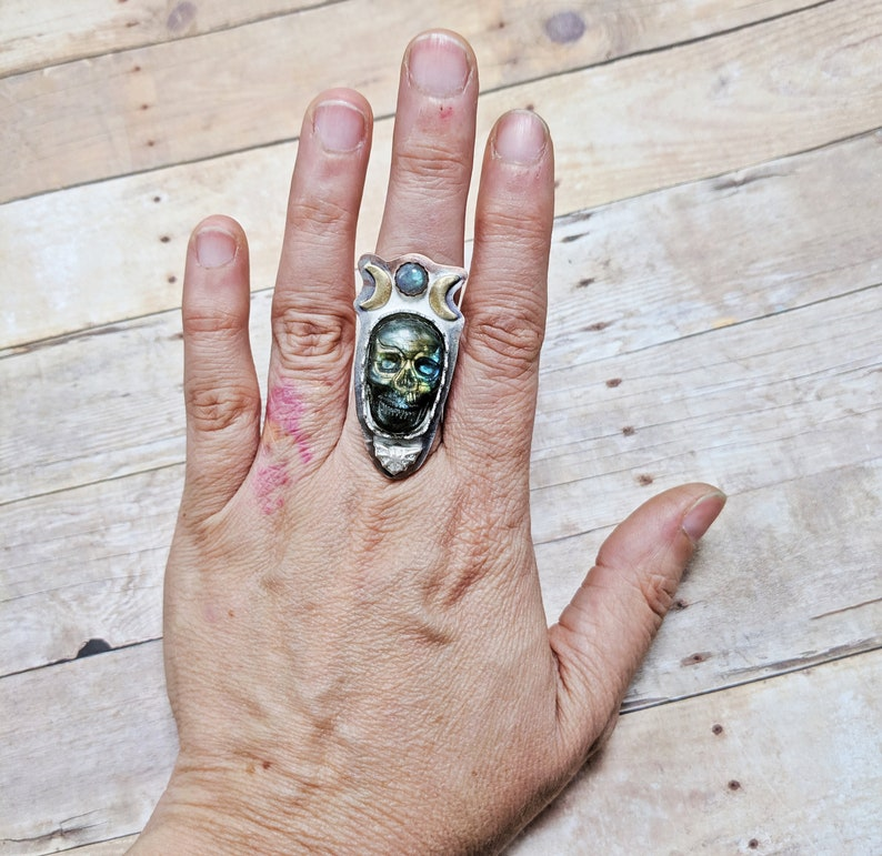 Labradorite Skull Ring Custom Sized 6 7 8 9 10 triple moon image 0