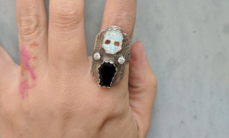 Opal Skull and Onyx Coffin Ring Custom Sized 6 7 8 9 10 image 0
