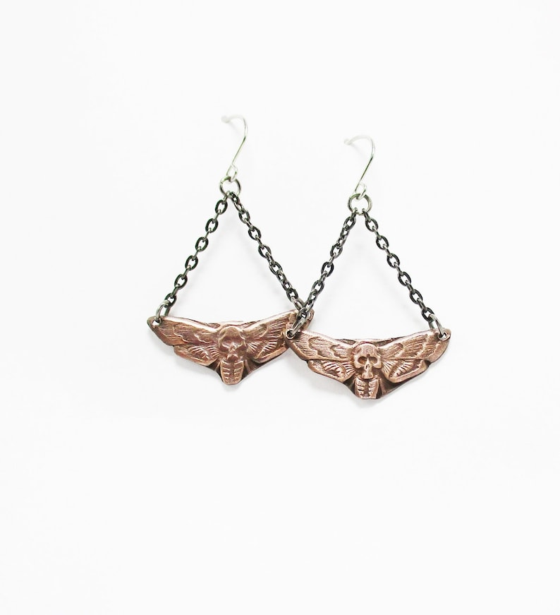 Simple Copper Death's Head Moth Dangle Earrings Punk Rock image 0