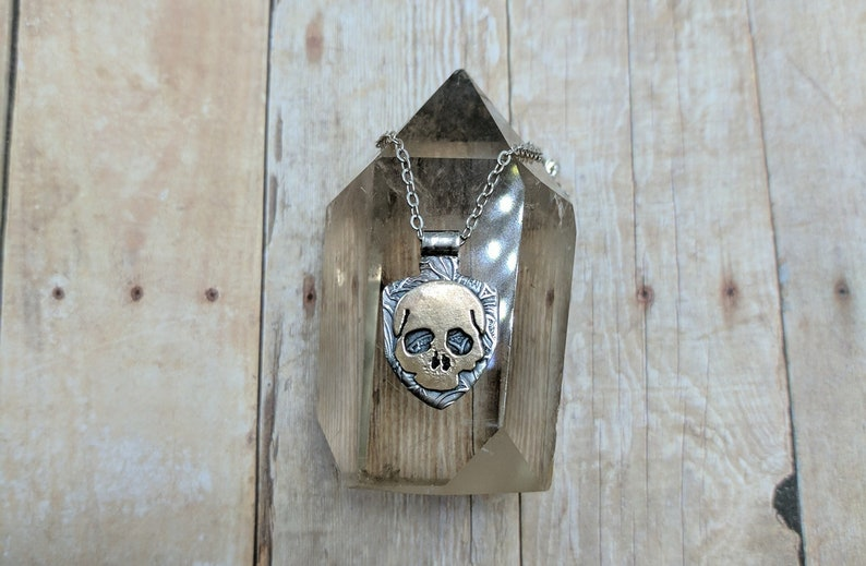 Mixed Metal Skull Necklace sabbat gift for witch or wiccan image 0