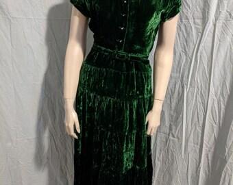 Vintage Early 50's Dark Green Crushed Velvet Day Dress
