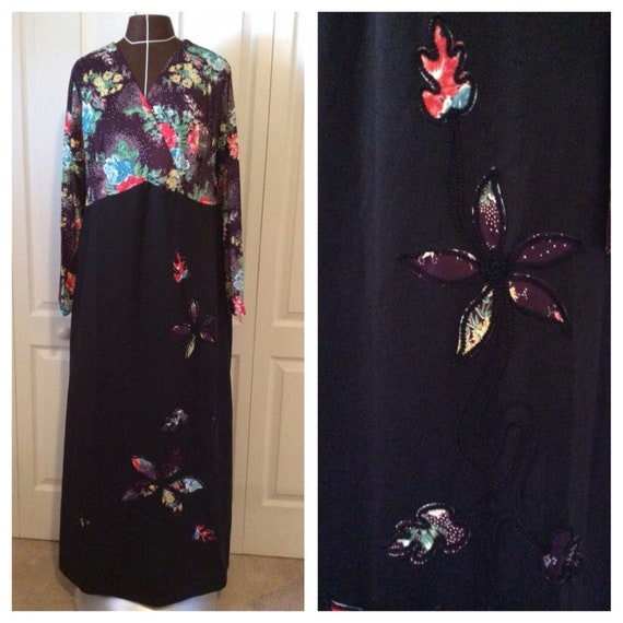 Vintage 70's Floral Print Maxi Dress XL
