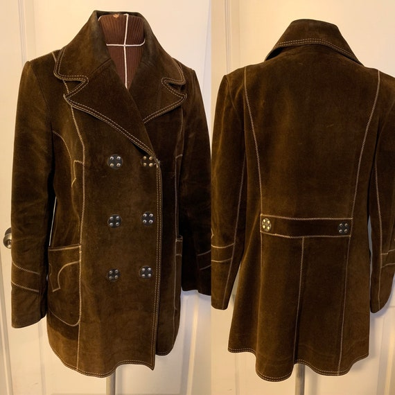 Vintage 60's/70's Brown Suede Hippie Jacket Coat