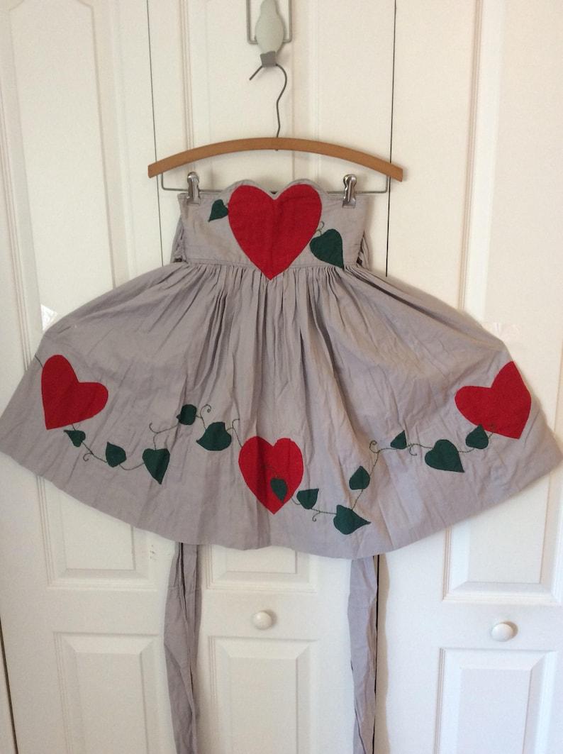 Rare 30/'s40/'s Heart /& Ivy Thick Cotton Apron XXS