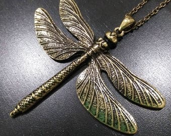 Bronze dragonfly pendant on a bronze chain