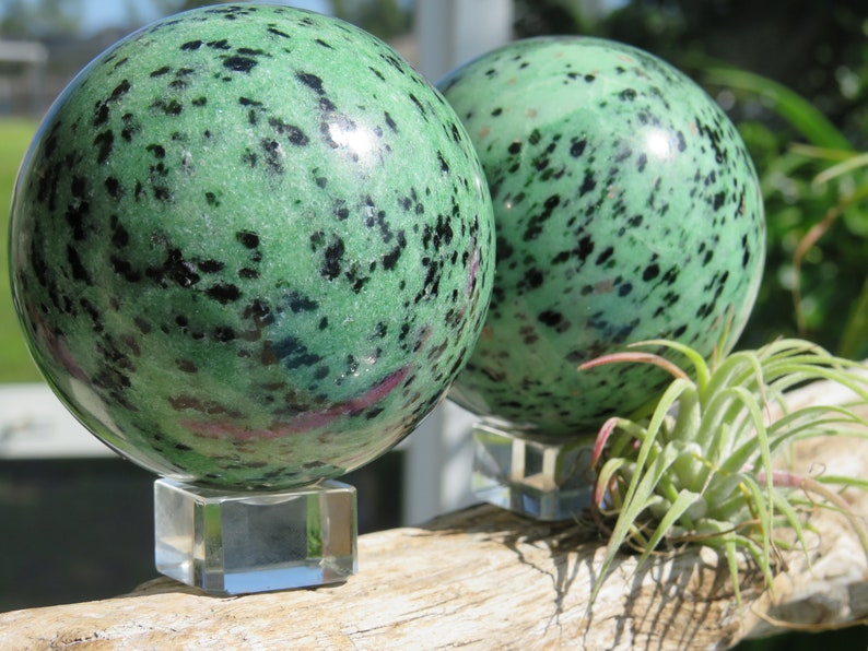 Divine love Ruby Zoisite Gemstone Spheres Over 1 lb. abundance vitality Balance growth happiness Deep healing