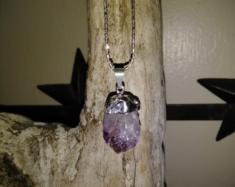 Raw Purple Amethyst pendant on a sterling silver chain