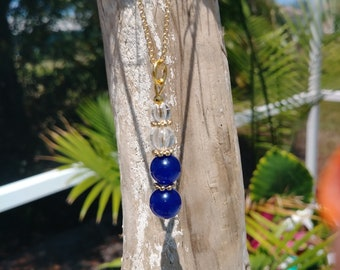 Blue Jade and clear quartz gemstone necklace on an adjustable gold chain- Free shipping!