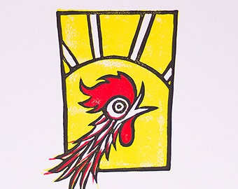"""Country Chicken Art Print, 2 Color Relief Print, Chicken Illustration - 12.5"""" x 9.5"""""""