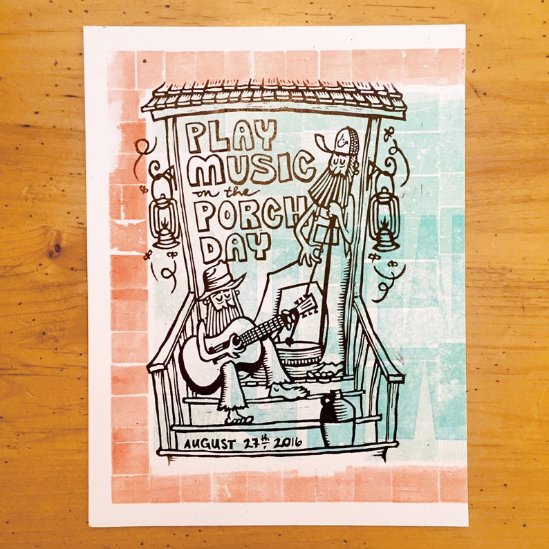 Play Music on the Porch Day 2016 3 Color Hand Carved Hand image 0
