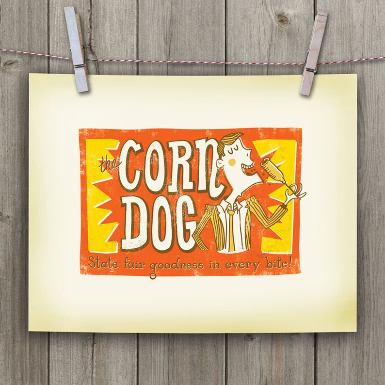 The Corn Dog. 11 x 14 Hand-lettered/Illustrated Print  image 0