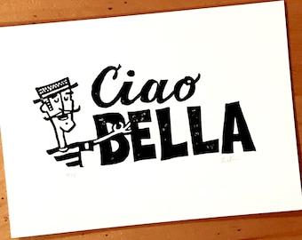 "Ciao Bella Print. 5"" x 7"" Italian Gondolier Relief Print, linocut."