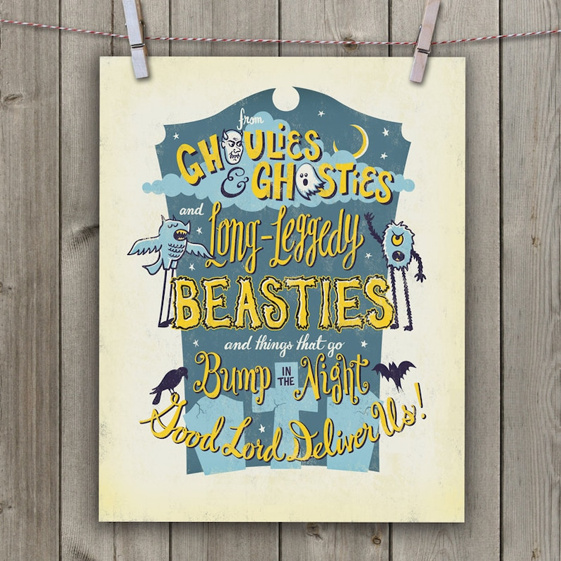 Halloween Art Print 11 x 14 Hand-lettered/Illustrated Print  image 0