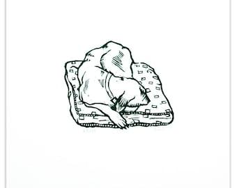 Original Linocut  Dog Print  -  Sleepy Hound