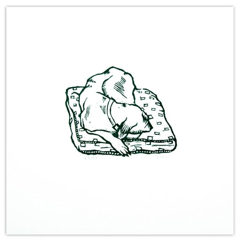 Original Linocut  Dog Print    Sleepy Hound image 0