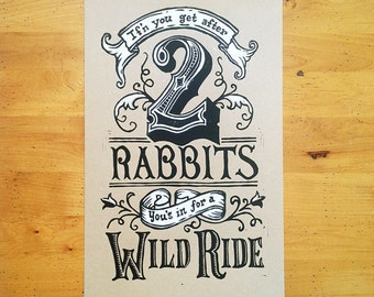 Two Rabbits Print. 2 Color, Hand Carved, Hand Printed, Linocut Relief Print. Limited Edition, Signed & Numbered